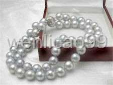 Gray 8MM Akoya Cultured Shell Pearl Necklace 18'' AAA