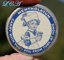 Tiny SAMPLE tin MENTHOLATUM medicine w/pic LITTLE NURSE on it GREAT CONDITION!