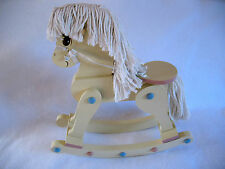 Small Wooden ROCKING HORSE With Yarn Mane and Tail & Blue & Pink Accents