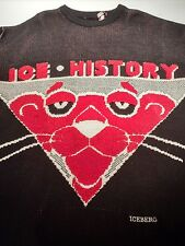 Men's XL History Iceberg ICE HISTORY Pink Panther Red Hockey Sweater Thick Wool