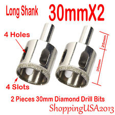 2Pc 30mm Diamond Drill Bis Set Hole Saw Cutter Tool 4 Slots Glass Marble Ti