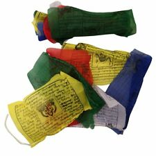 HAND MADE TIBETAN BUDDHIST COTTON PRAYER FLAGS WIND HORSES NEPAL 25 FLAGS 5m