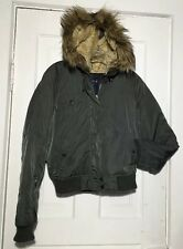 Olive Green American Eagle Sexy Short Anorak Parka Winter Coat Jacket w/Faux Fur