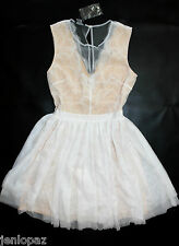 NWT bebe cream white beige mesh lace flare sheer deep v top dress M medium 8