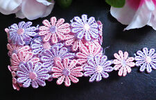 1 inch wide embroidered  lilac/pink daisy Lace trim selling by yard