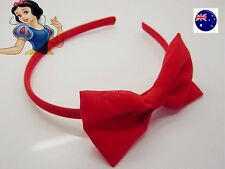 Women Girl School Red Chiffon lace Bow Snow white Party Xmas Hair band Headband
