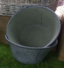 Zinc Metal Large Antique Style Round Garden Planter Trough - NEW