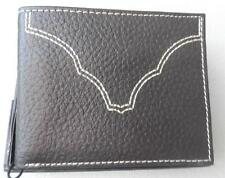 Leather Bi-Fold Wallet 2-Fold Credit Card WESTERN STYLE   NEW  Gift Box  Brown