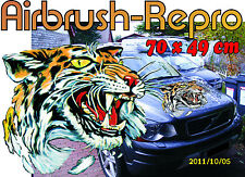 Sticker Tiger kopf  Motorhaube Auto Bus Truck Caravan Boot 70 cm Air Brush Repro