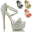 WOMENS STILETTO PLATFORM STRAPPY LADIES PARTY HIGH HEEL SANDAL SHOES SIZE 3 - 8