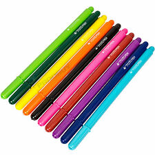 Pack of 10 Tratto Fineliner Pens Assorted Colours Black Blue Purple Ink Fine Tip