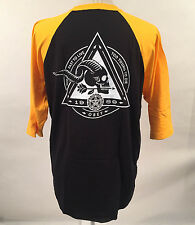 Obey Men's Baseball T-Shirt Too Fast to Live Black/Gold Size M NEW Skull Arrow