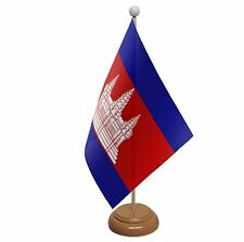 "CAMBODIA TABLE FLAG 9""X6"" WITH WOODEN BASE FLAGS"