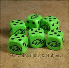 NEW Set of 6 Fish Sea Green D6 Game Dice Six Sided Animal 16mm Koplow