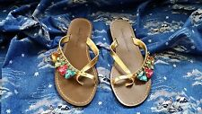 Beverly Feldman Gold Strap Sandals w/Chunky Jewel Accents size 8M NWOTsb