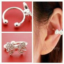 1 Pair Elegant Charm Bowknot Ear Stud Rhinestone Shiny Clip Earrings Jewelry