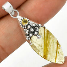 Golden Rutile & Citrine 925 Sterling Silver Pendant Jewelry SP221571