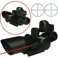 Sports Gun 2.5-10X40 Rifle Scope w/Red Laser&Mini Reflex 3 MOA Red Dot Sight New