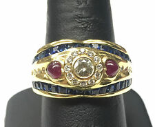 Vintage Estate 18K Gold .30 CT Diamond, Sapphire, Ruby Cabochon Ring Size 8