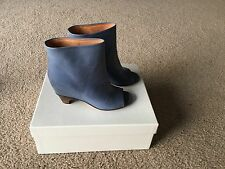Maison Martin Margiela Blue Open Toe Hidden Wedge Leather Ankle Boots Size 36
