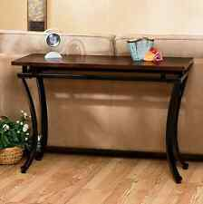 Console Table Wood Top BLACK Metal Base Sofa Couch Modern Room Accent Furniture