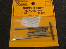 Micro- Engineering #80-320 HO turnout parts CODE 70 #6 1 set BIGDISCOUNTTRAINS