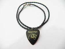 "ROBERT PLANT Led zepp Guitar Pick signature gold stamped 20"" leather NECKLACE"