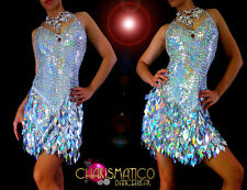 CHARISMATICO Halter style Latin dance dress w/ iridescent silver diamond sequins
