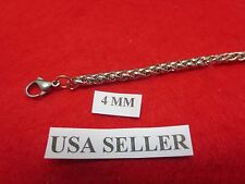 """36"""" Mens,Womens,Boys,Girls,4mm Stainless Steel Silver Braided Wheat  Necklace"""