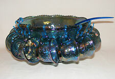 VINTAGE CARNIVAL GLASS  BLUE IRIDESCENT GRAPE & LEAF 20 Pcs PUNCH BOWL & CUP SET