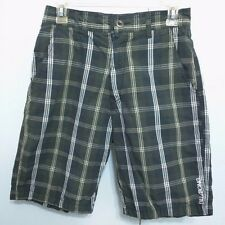 Billabong Shorts Casual Flat Front Green Plaid Surfing Mens Size 28 EUC