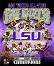 LSU Tigers Football ALL-TIME GREATS 8 Legends, 3 NCAA Championships POSTER Print