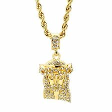"Mens Hip Hop 14k Gold Plated Jesus Piece Pendant 24"" 4mm TCH Rope Chain Necklace"