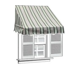 ALEKO Window Awning Door Shade Canopy Decorator 4x2ft Multiple Stripes Green