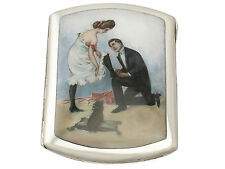 German Silver and Erotica Enamel Cigarette Case - Antique Circa 1920
