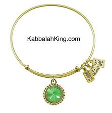 Wind & Fire August Peridot Crystal Birthstone Charm Gold Bangle Bracelet USA