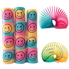 12 Slinky Smiley Face Springs Rainbow Smiley Face Spring Party Bag Fillers Toys