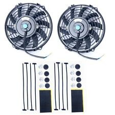 "2Pcs 9"" INCH UNIVERSAL 12V PULL/PUSH CAR RADIATOR ENGINE COOLING FAN+MOUNTING"