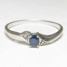 Estate 10K White Gold 0.20 Ct Natural Blue Oval Sapphire And Diamond Ring