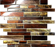 Sample Golden Brown Metallic Linear Glass Mosaic Tile Kitchen Backsplash Pool