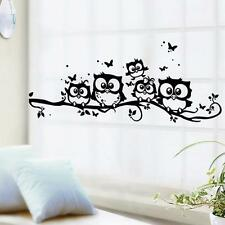 Home Decor Removable Art Vinyl Decal Owl Cartoon Wall Sticker Kids BedRoom Black
