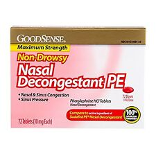 GoodSense Nasal Decongestant Phenylephrine HCl 10 mg tablets, 72-count NEW