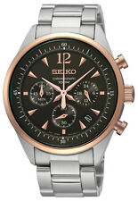SEIKO MEN CHRONOGRAPH 100M ROSE GOLD TONE BEZEL STEEL WATCH SSB068 SSB068P1