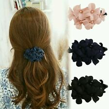 Fashion Handmade Women Girl Flower Banana Barrette Navy blue Color Hair Clip