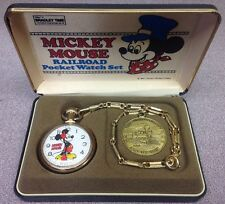 Mickey Mouse Great American Railroad Collector's Series Pocket Watch Set