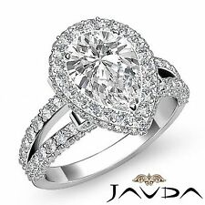 Halo Pre-Set Pear Diamond Engagement Solid Ring GIA F VS1 18k White Gold 3.02ct