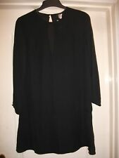 H&M SMART BLACK SHEER LONG SLEEVE TUNIC SHIFT DRESS -BACK BUTTON PEEPHOLE DETAIL