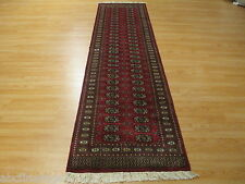 10 FEET Runner Bokhara Unique Allover-Pattern Handmade-knotted Rug Wool 581250