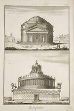 Gravure XVIII° ROME Antiquités Temple de Jupiter Vengeur Tombeau d'Adrien v 1760