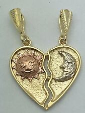 New 14K Tri Color Gold Broken Heart with Sun & Moon Heart Charm Pendant 3.3grams